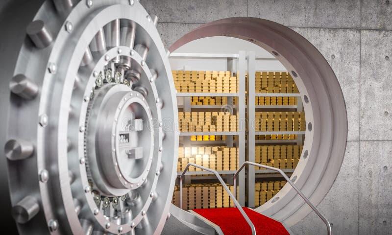 Bank vault 3d image. 3d image of huge bank vault and gold ingot with red carpet stock image