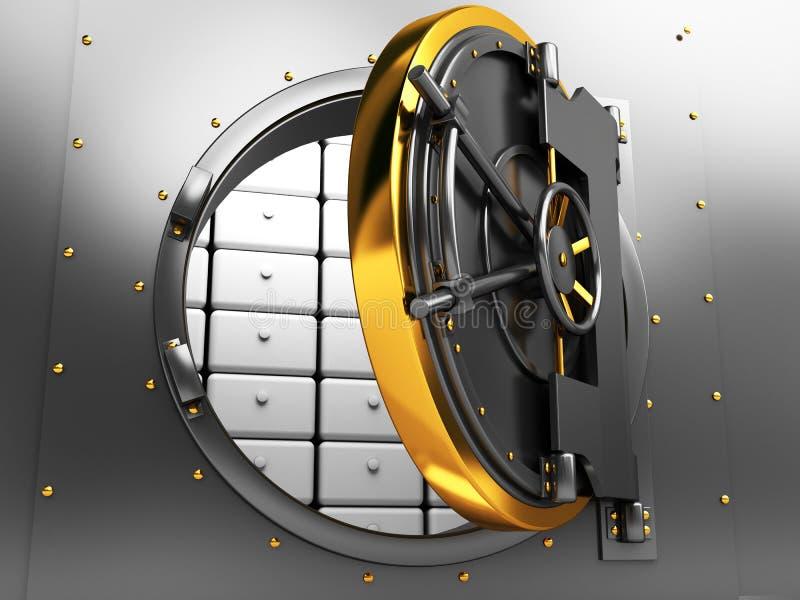 Bank vault door. 3d illustration of opened bank vault door