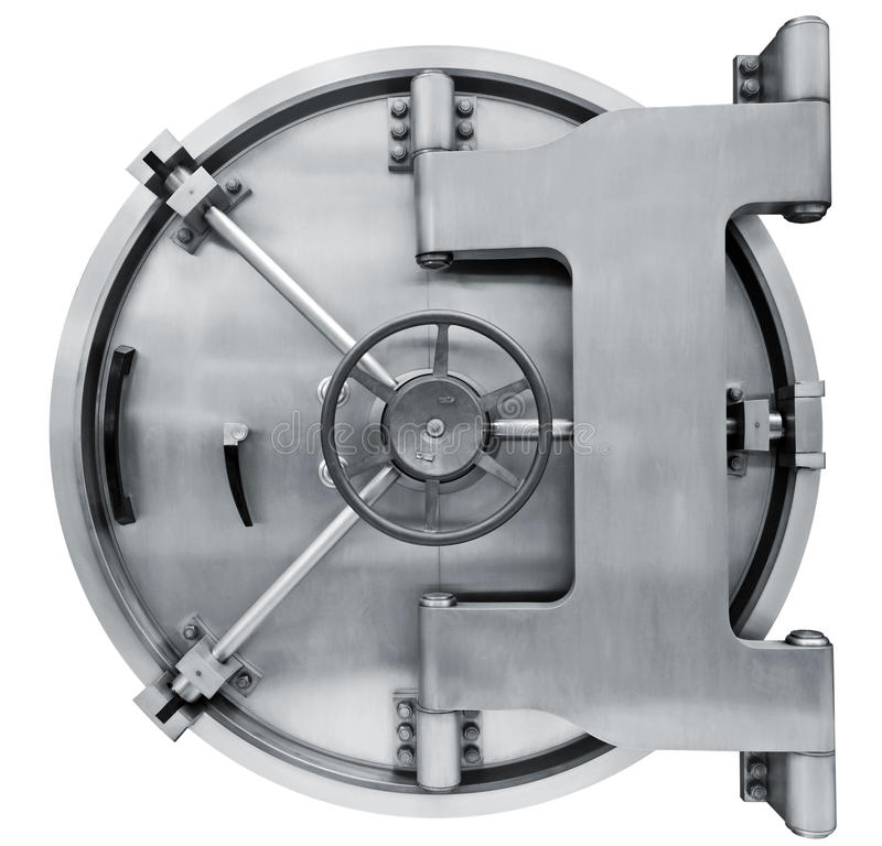 Bank vault door isolated on white with clipping path. The metallic bank vault door on a white background isolated on white with clipping path stock photo
