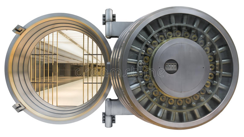 Bank vault door isolated on white with clipping path. The metallic bank vault door on a white background isolated on white with clipping path royalty free stock photos