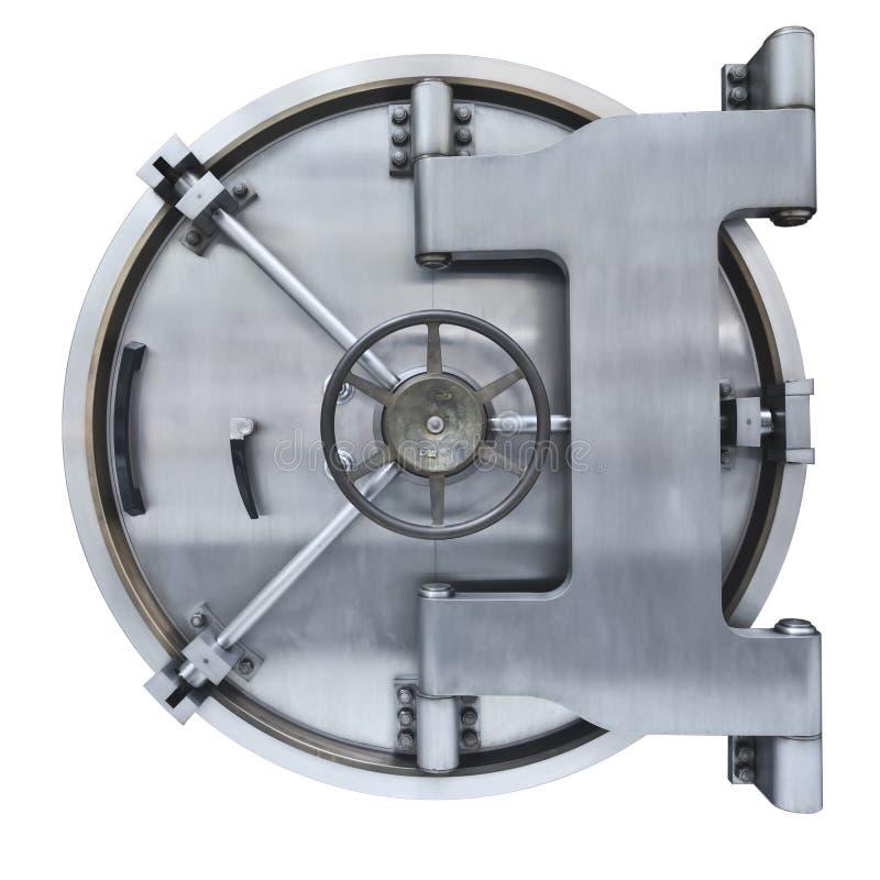 Bank vault door. The metallic Bank vault door on a white background stock image