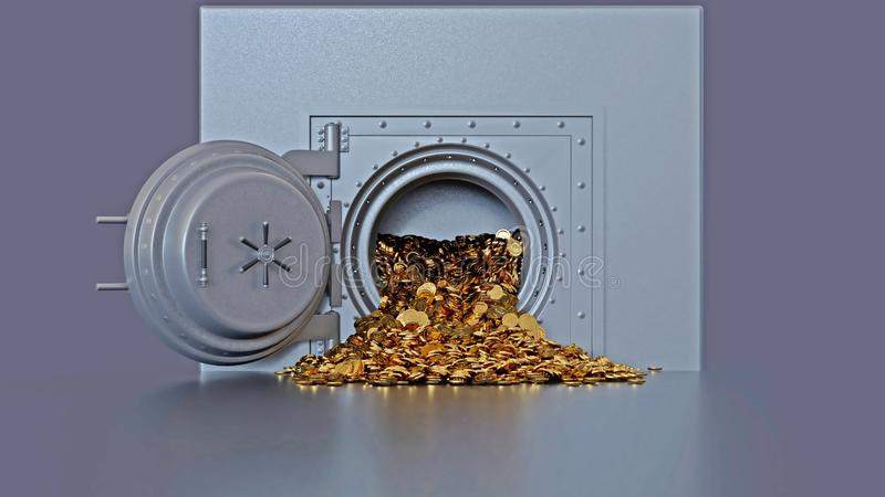 Bank vault door opening revealing a golden coin royalty free illustration