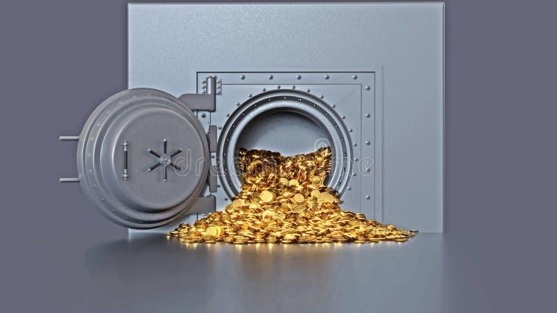 Bank vault door opening revealing a golden coin. 3d rendering royalty free stock images