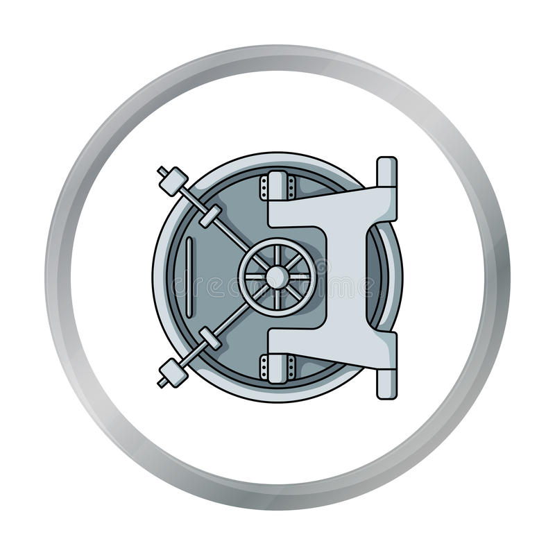Bank vault icon in cartoon style isolated on white background. Money and finance symbol. Vector illustration stock illustration