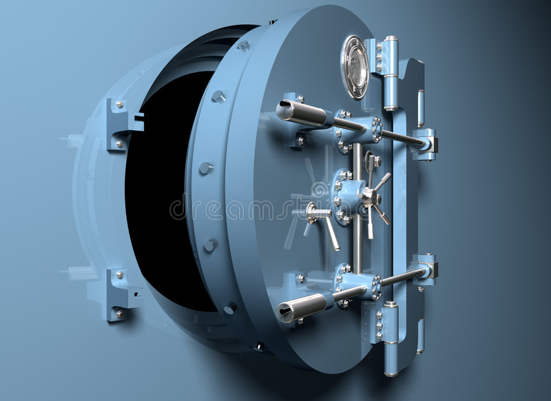 Bank Vault with round door vector illustration