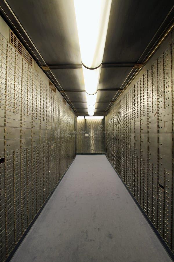 Bank Vault Safe Deposit Box. In Historic Building Symmetry stock photography