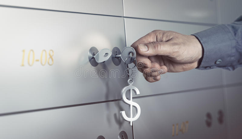 Bank Vault, Safe Deposit Box. Safe deposit in a bank vault, hand about to turn a key to open a safe box. Financial concept stock illustration