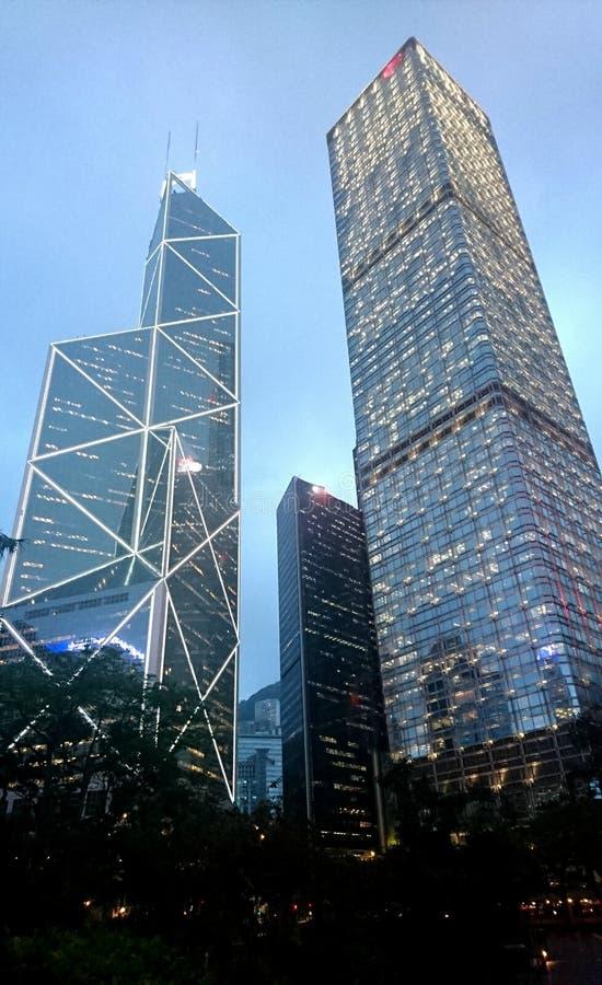 Bank von China-Turm und Handelsgebäude in Hong Kong lizenzfreie stockbilder