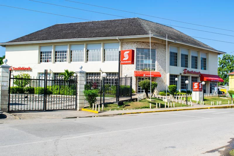 Bank von Nova Scotia Scotiabank in Negril, Westmoreland, Jamaika lizenzfreies stockbild
