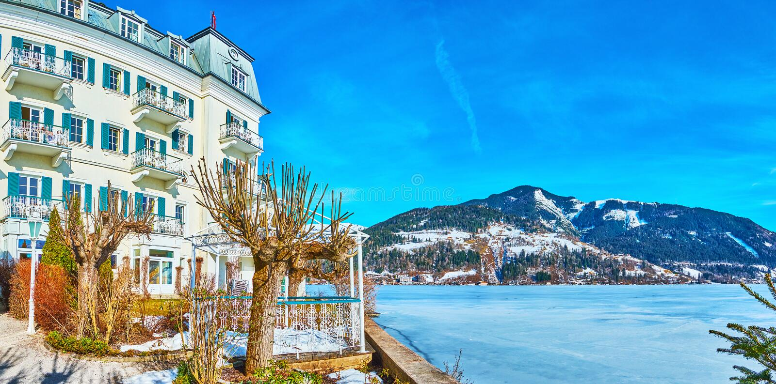 On the bank of Zeller see, Zell am See, Austria royalty free stock images