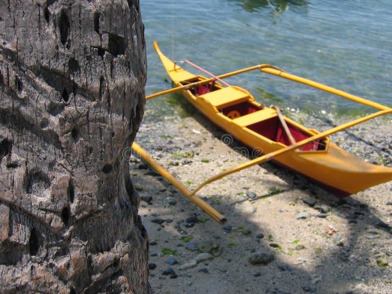 banka独木舟舷外架棕榈树黄色 库存照片