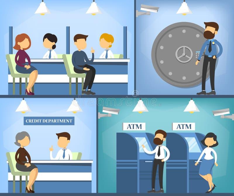 Banka biura wnętrze Kierownik, kasjer i klient, ilustracji