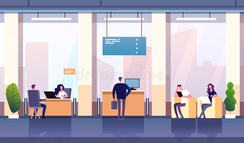 Banka biura wn?trze Fachowa zarządzanie bankowość inwestycja Opróżnia banka biurowy ordynacyjny centrum biznesowy pieniężnego royalty ilustracja