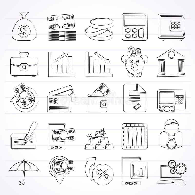 banka biznesu finanse ikony ilustracja wektor