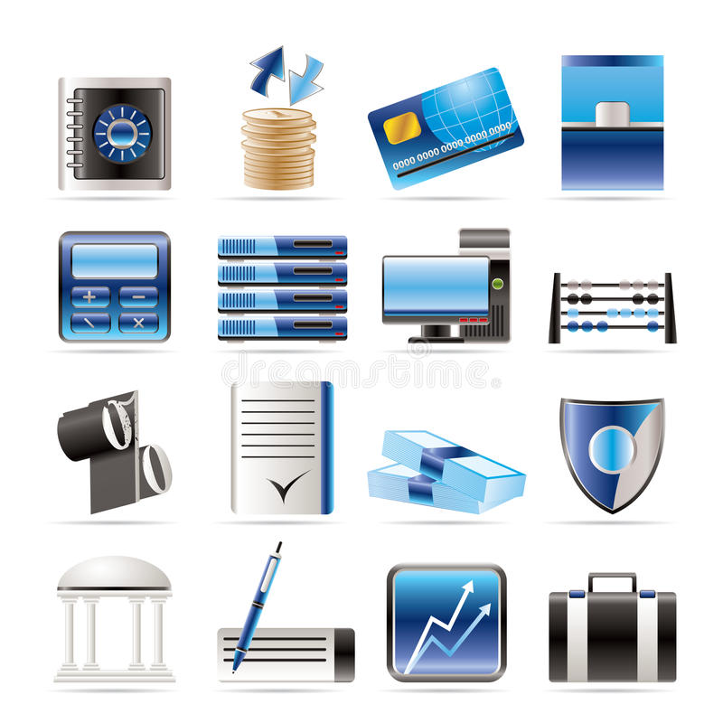 banka biznesu finanse ikony biurowe ilustracji