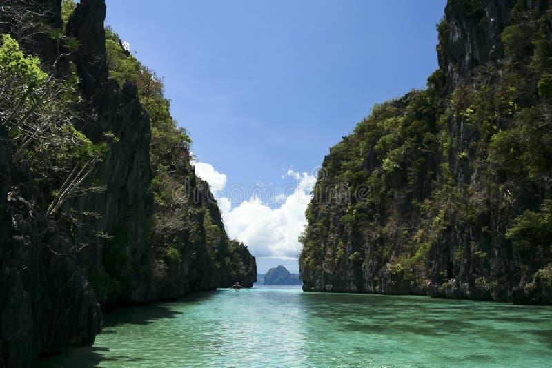 Banka bleu Philippines palawan de lagune de nido d'EL photographie stock libre de droits