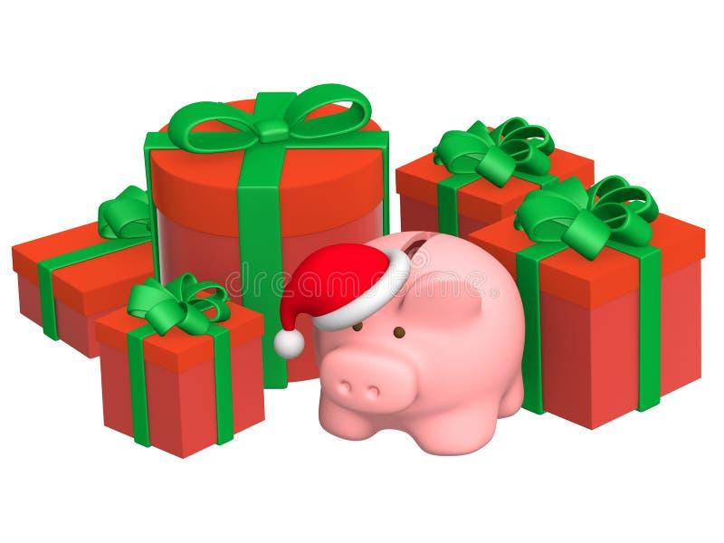banka bożych narodzeń prezentów prosiątko royalty ilustracja