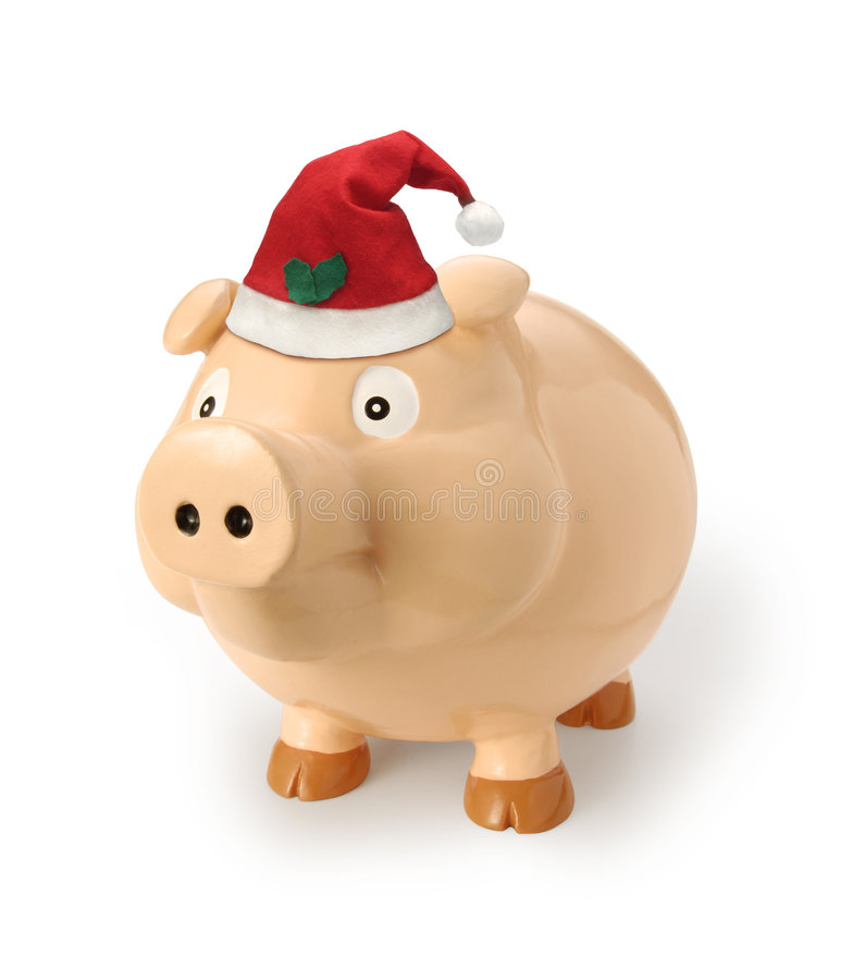 banka bożych narodzeń prezenta pieniądze prosiątko zdjęcie stock