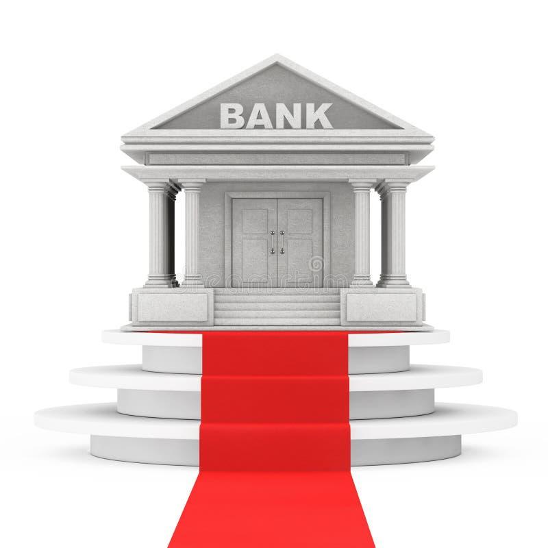Banka budynek nad zwycięzcy podium z czerwonym chodnikiem świadczenia 3 d ilustracja wektor