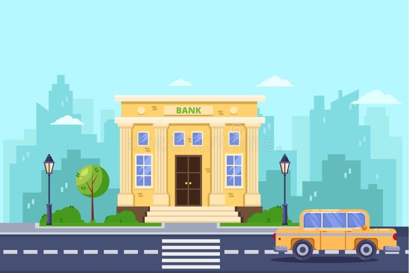 Banka budynek, wektorowa płaska ilustracja Deponować pieniądze i pieniężna usługa Miasto ulica, miastowy krajobrazowy tło royalty ilustracja