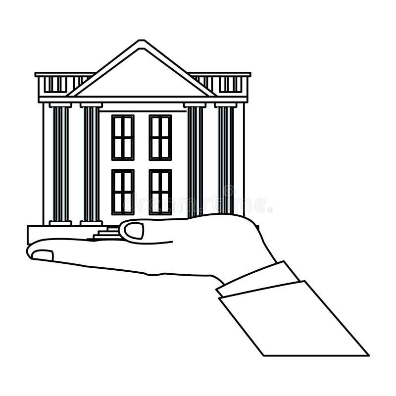 Banka budynek z ręką royalty ilustracja