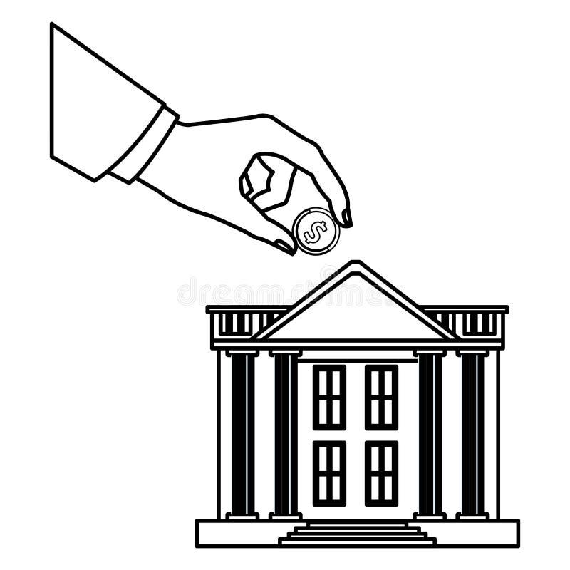 Banka budynek z ręką ilustracji