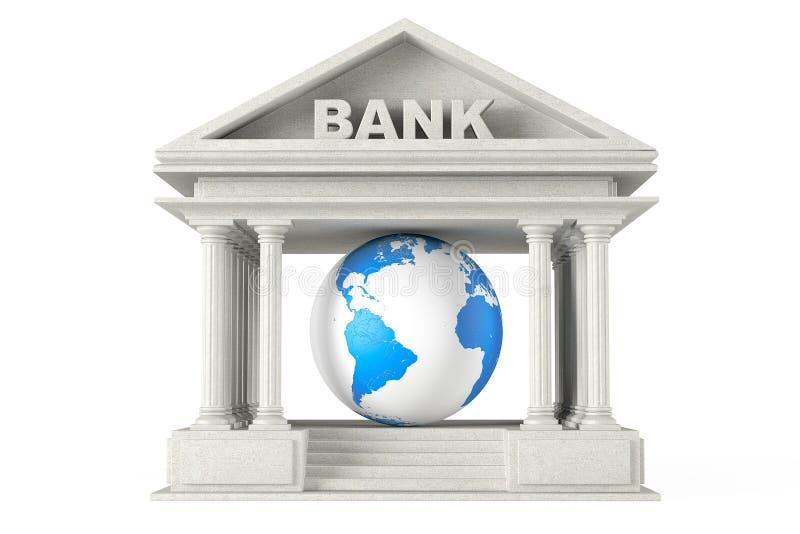 Banka budynek z Ziemską kulą ziemską ilustracji