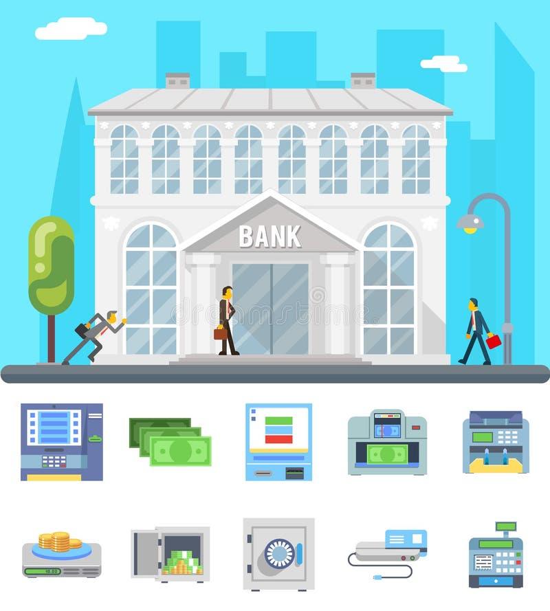 Banka budynku handlowego domu biznesu finanse pieniądze czeka obliczenia administracyjne ikony ustawiają płaskiego projekta wekto royalty ilustracja