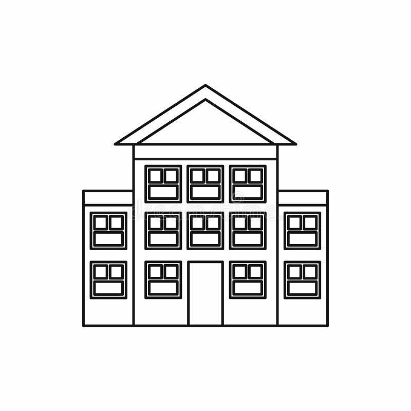Banka budynku ikona, konturu styl ilustracja wektor