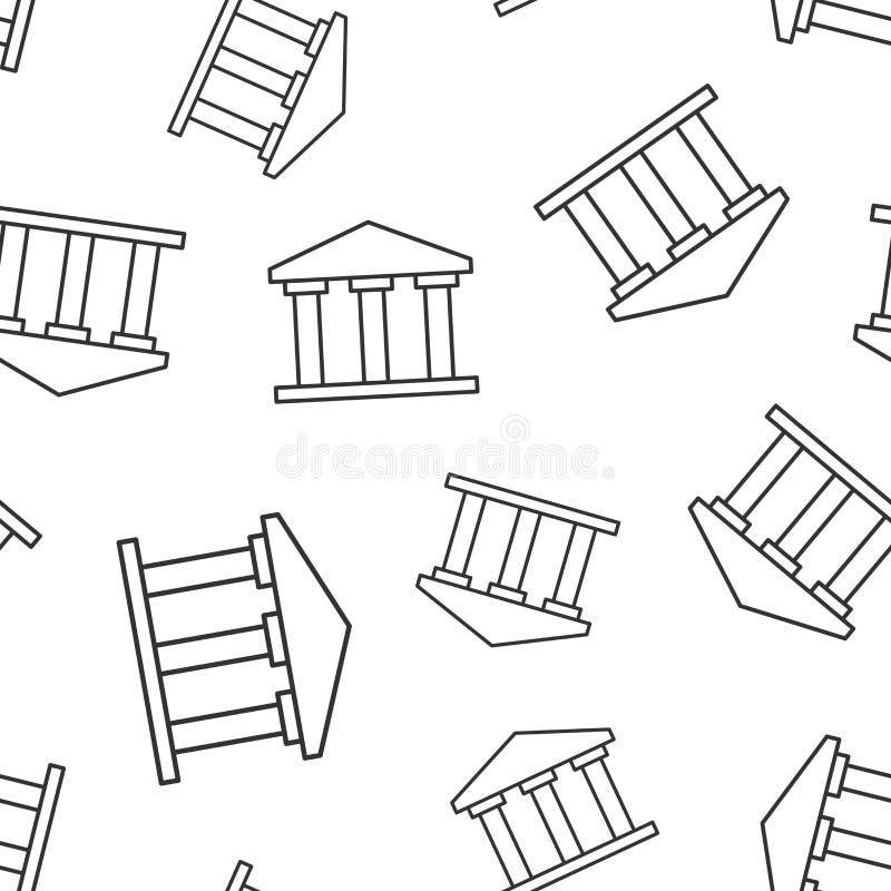 Banka budynku ikony bezszwowy deseniowy tło Rządowa architektura wektoru ilustracja Muzealny zewnętrzny symbolu wzór ilustracja wektor