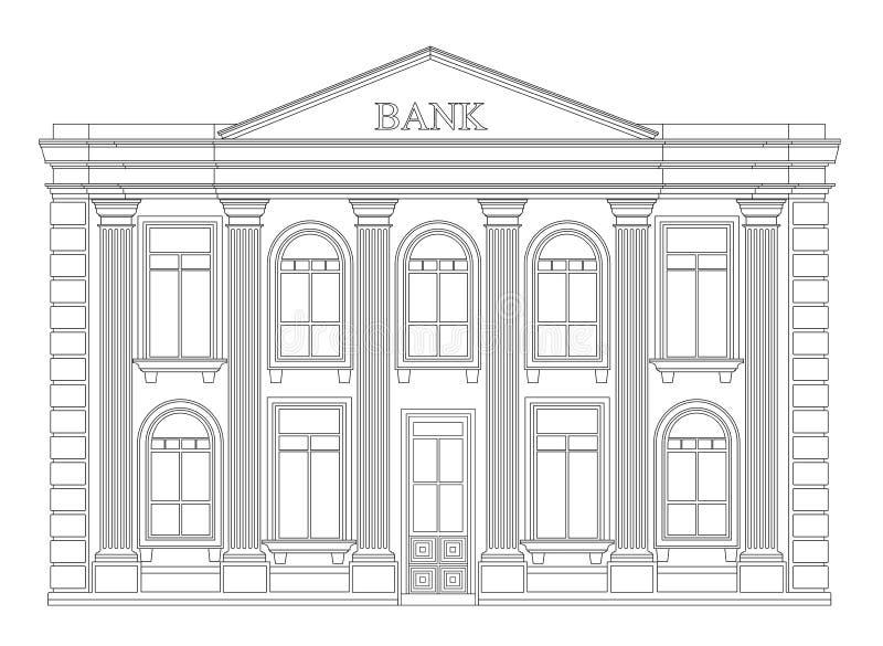 Banka budynku konturu ikona odizolowywająca Elegancki cienki kreskowego stylu rysunku projekt royalty ilustracja