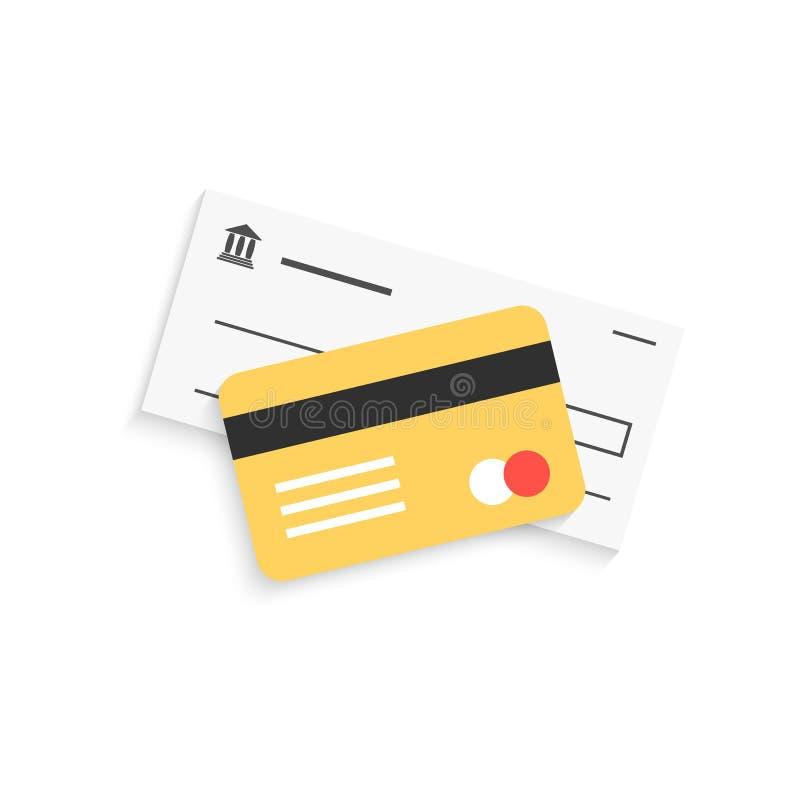Banka czek i złota kredytowa karta z cieniem royalty ilustracja