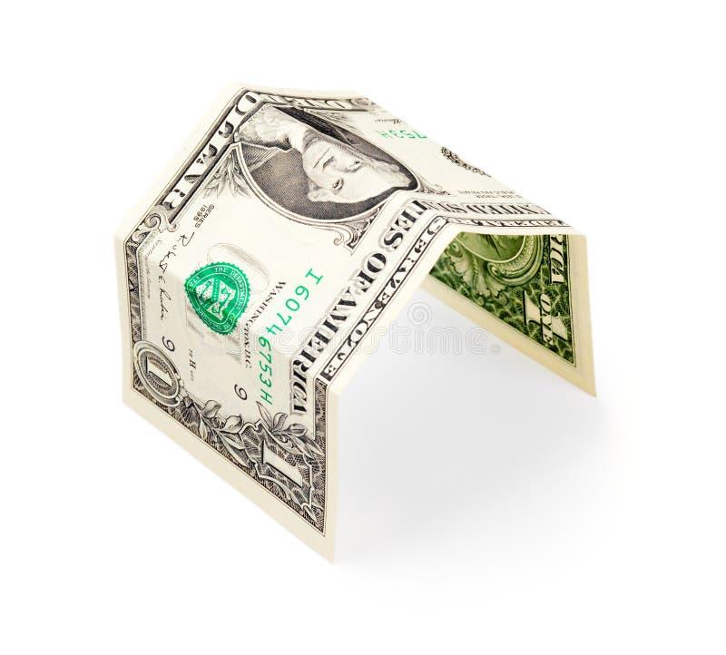 banka dolara dom odizolowywająca notatka jeden prosta zdjęcie stock