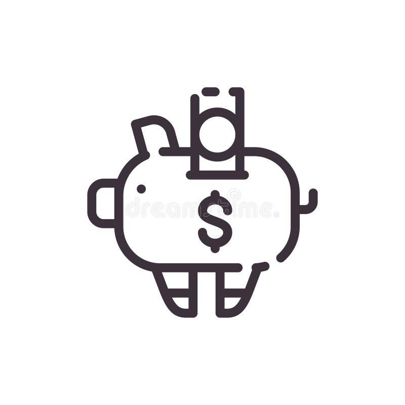 banka dolara prosiątko Pieniężne inwestycje Wektorowa liniowa czerni ikona ilustracja wektor