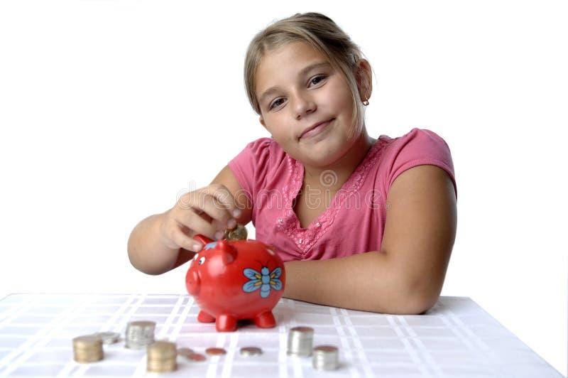 banka dziewczyny prosiątka szkoła obrazy royalty free