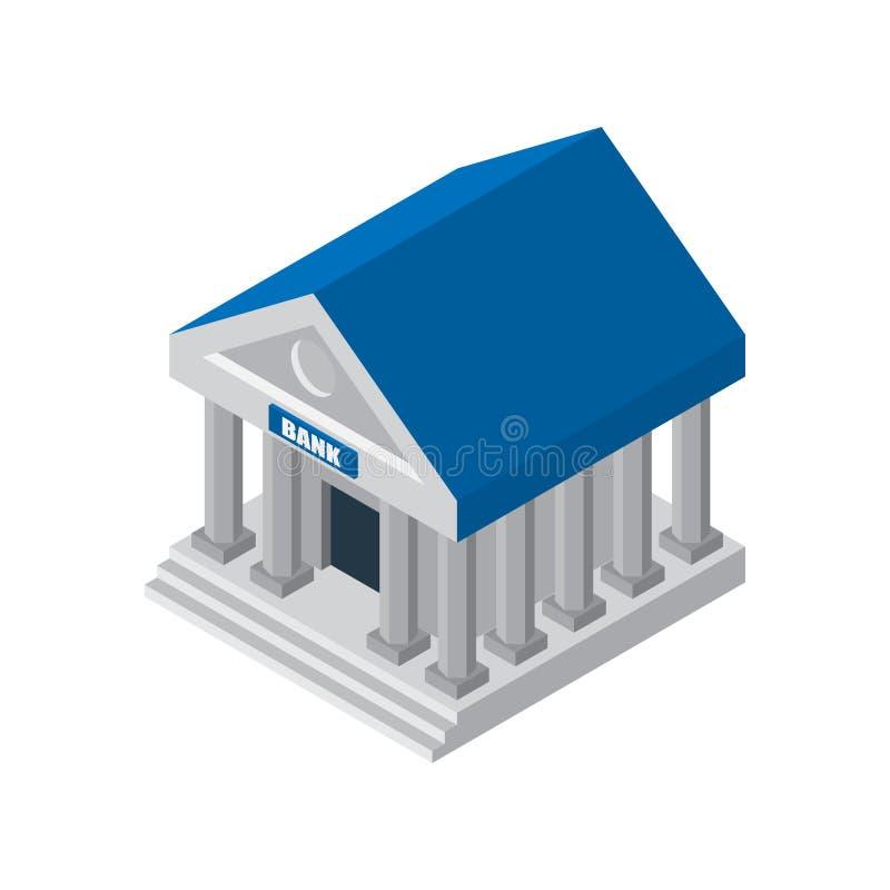 Banka finansowego budynku ilustracyjna ikona odizolowywająca Symbole biznes i finanse: pieniądze, skrytka, skrzynka Isometric ban ilustracji