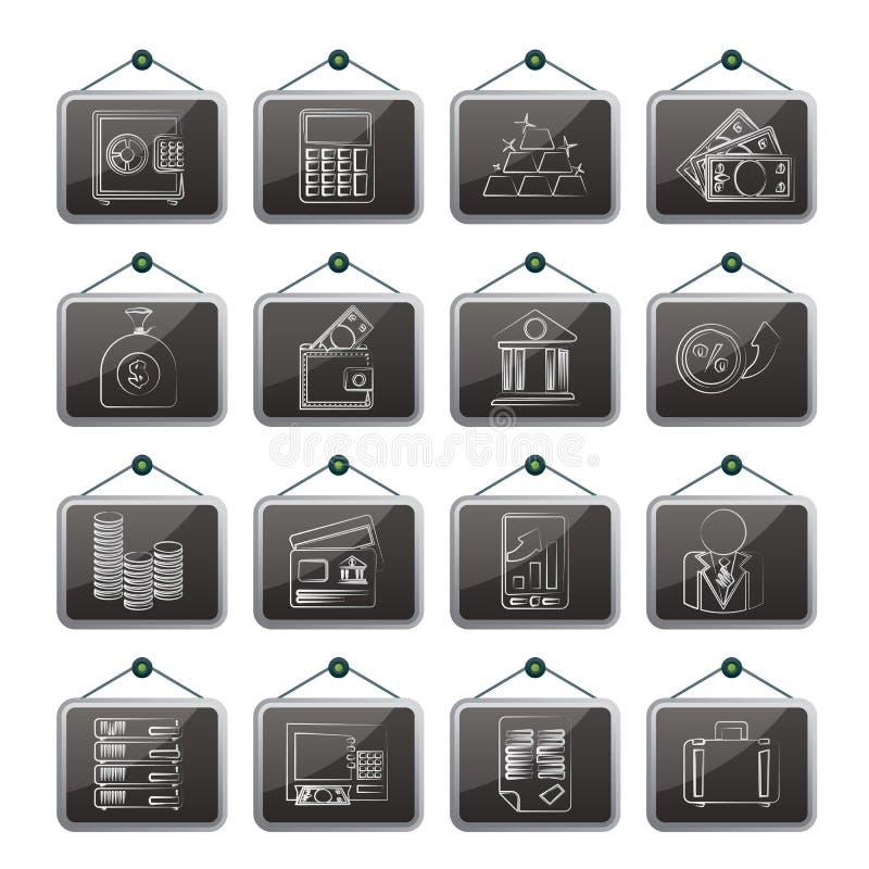 Banka i finanse ikony ilustracji