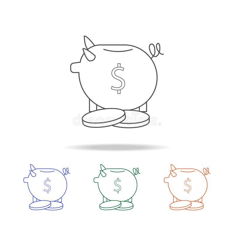 banka ikony prosiątko Elementy bankowość w wielo- barwionych ikonach Premii ilości graficznego projekta ikona Prosta ikona dla st ilustracja wektor