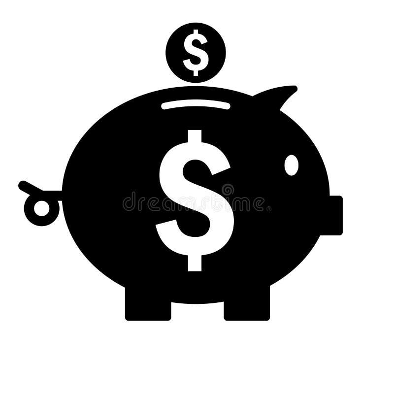 banka ikony prosiątko Sylwetki oszczędzania pieniądze symbol wektor royalty ilustracja