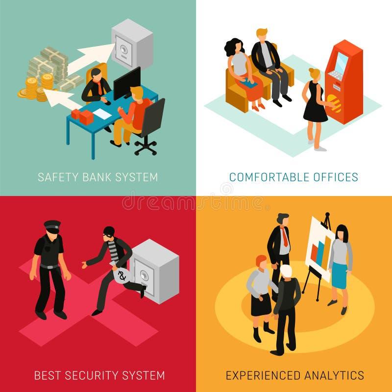 Banka Isometric pojęcia ludzie ilustracji