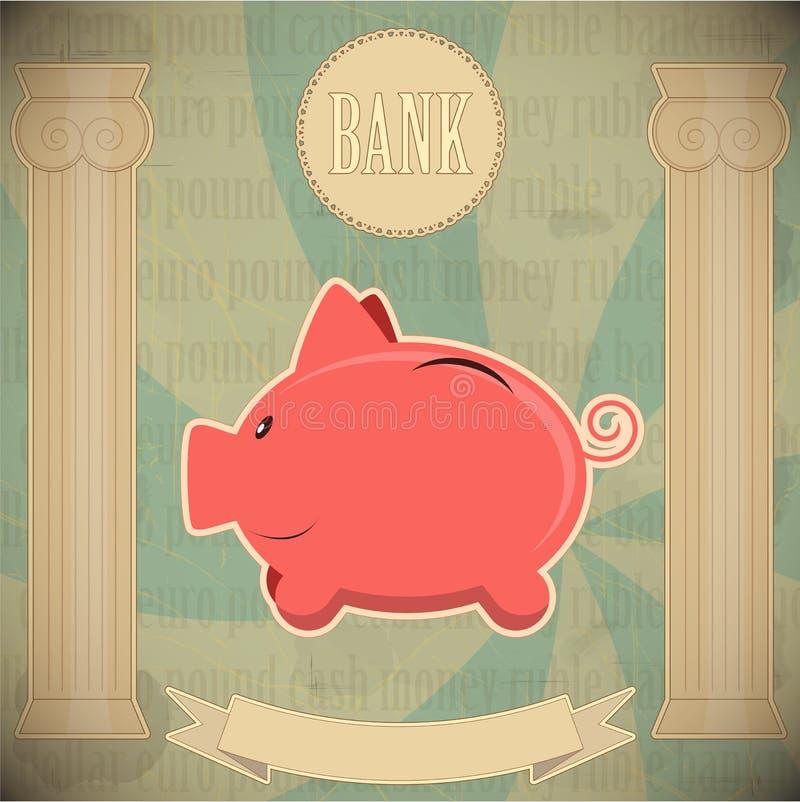 banka karty prosiątka menchii rocznik ilustracji