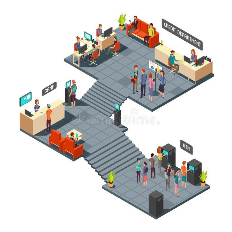 Banka komercyjnego biura 3d isometric wnętrze z ludźmi biznesu inside deponować pieniądze i finansowy wektorowy pojęcie royalty ilustracja