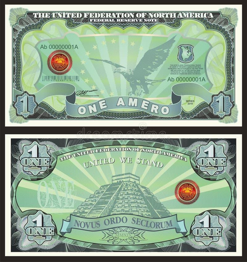 Bankbiljet één Amero royalty-vrije illustratie