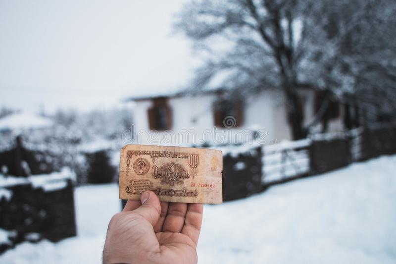 Bankbiljet 1961 1 roebels de USSR stock fotografie