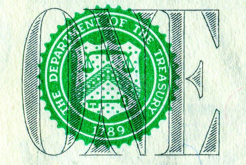Bankbiljet van één Amerikaanse dollar, detail royalty-vrije stock afbeelding