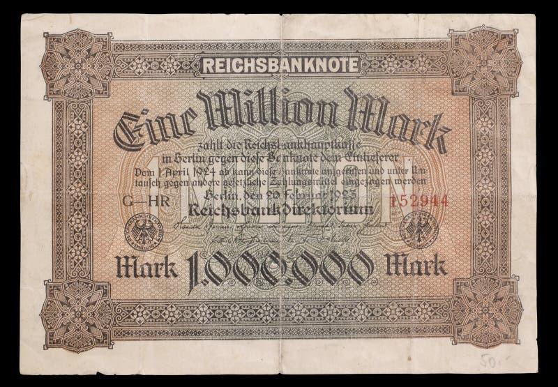 Bankbiljet van republiek Weimar. 1923. Obvers. royalty-vrije stock afbeeldingen