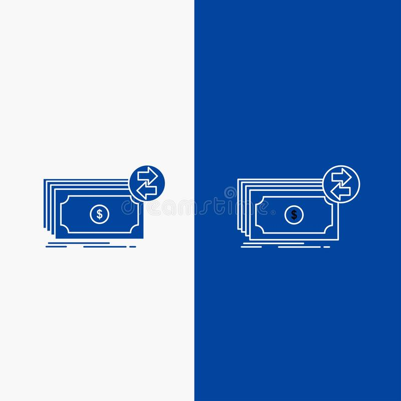 Bankbiljetten, contant geld, dollars, stroom, geldlijn en Glyph-Webknoop in Blauwe kleuren Verticale Banner voor UI en UX, websit royalty-vrije illustratie