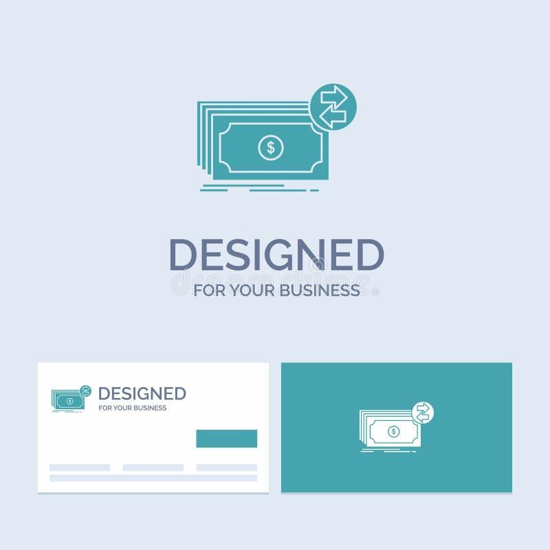 Bankbiljetten, contant geld, dollars, stroom, geldzaken Logo Glyph Icon Symbol voor uw zaken Turkooise Visitekaartjes met Merkemb vector illustratie