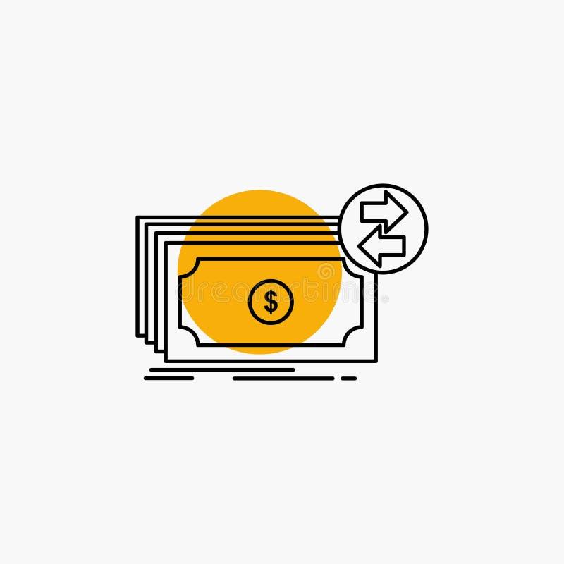 Bankbiljetten, contant geld, dollars, stroom, het Pictogram van de geldlijn vector illustratie