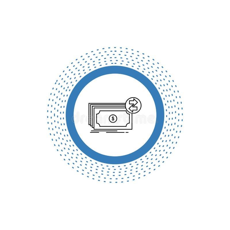 Bankbiljetten, contant geld, dollars, stroom, het Pictogram van de geldlijn Vector ge?soleerde illustratie stock illustratie